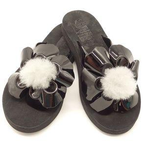 NWT UGG Poppy Flip Flops Black Gray Lamb Fur Poms